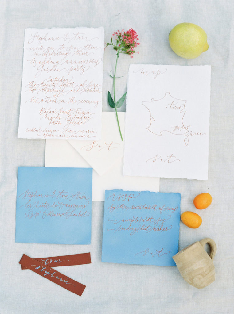 Fun invitation suite for a cocktail garden party