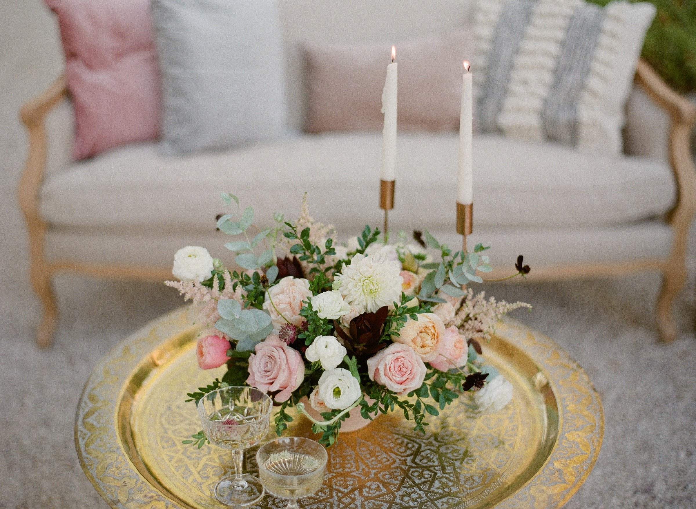 Wedding lounge set with golden Moroccan-Style table