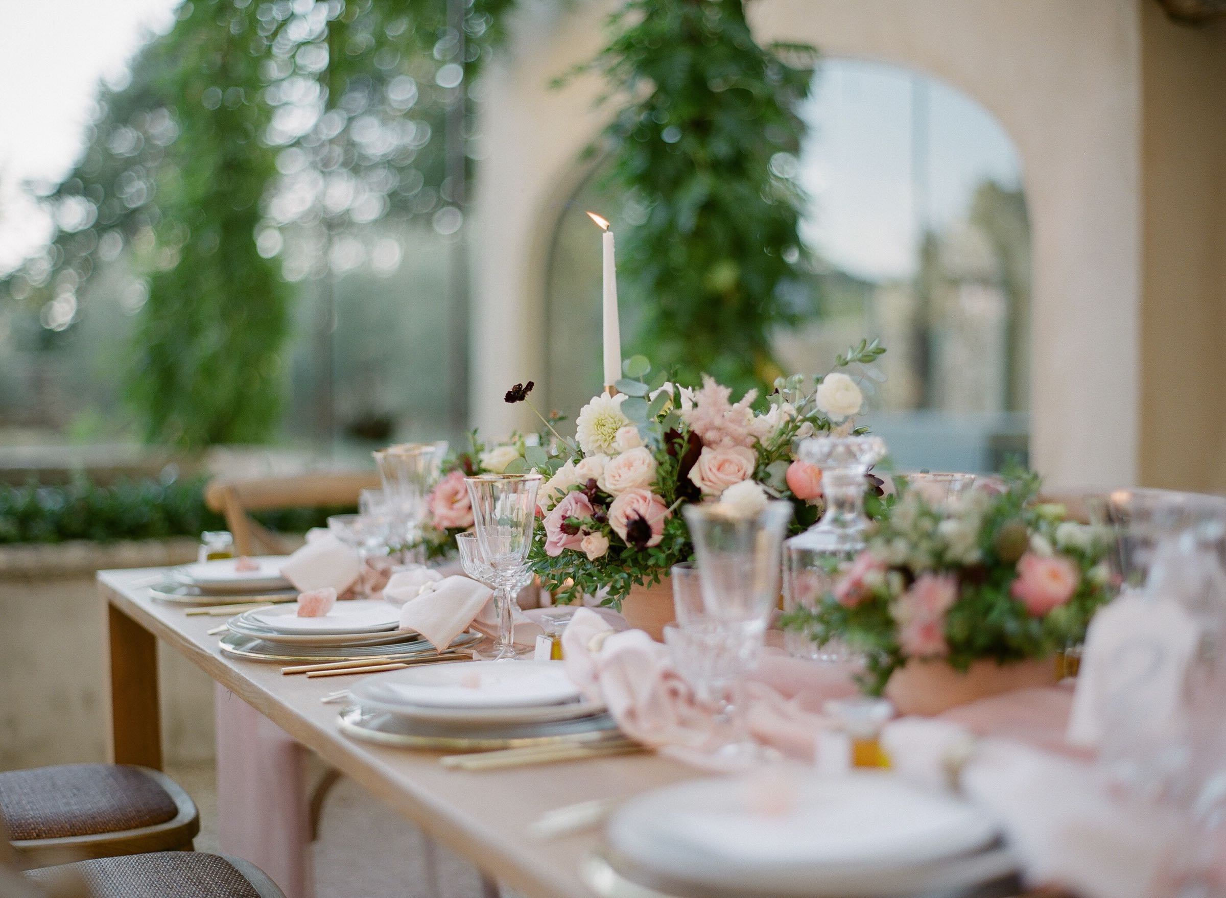Wedding reception table decor with blush and gold accents