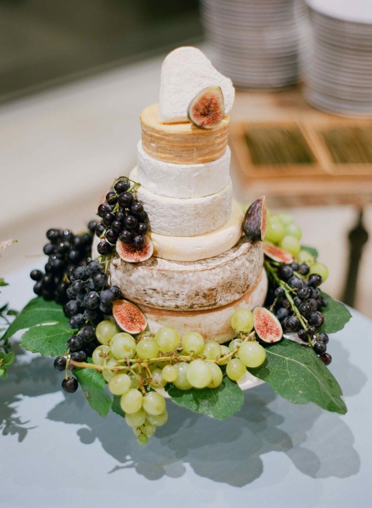 Wedding cheese tower and grapes