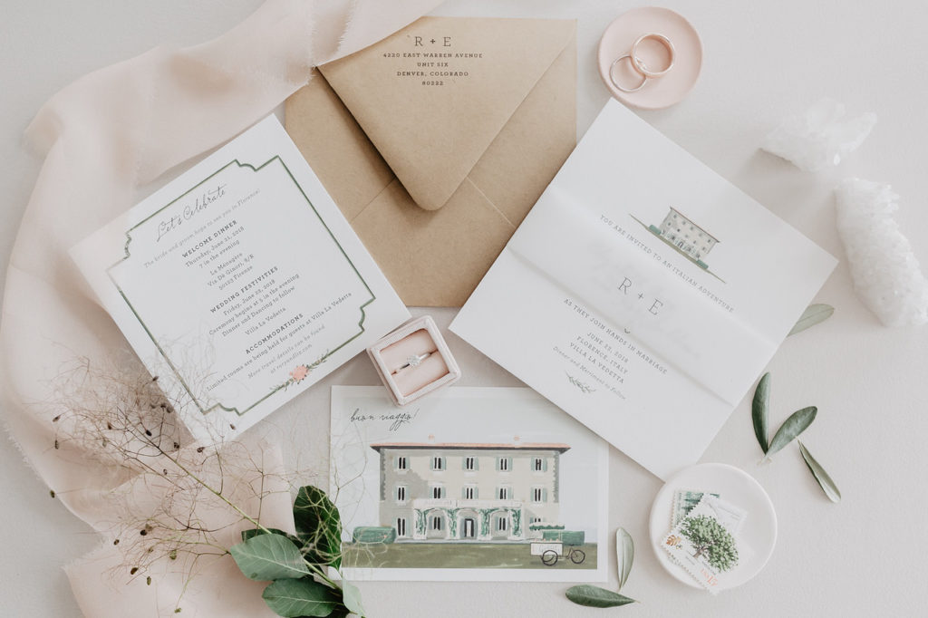 Modern and whimsical wedding invitation suite