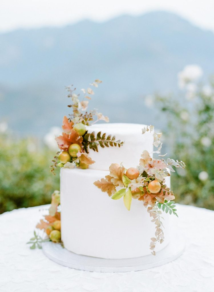 Autumnal two-tier wedding cake